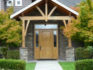 An eye-catching front door gives your home a touch of class.