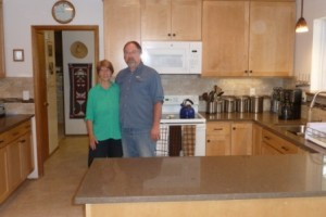 Mr. and Mrs. Feris in their newly remodeled kitchen.